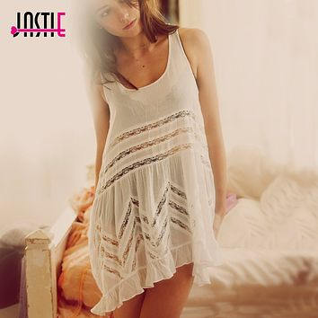 Jastie Summer Boho People Style Dresses Sheer Dotted Slip dress with lace Hollow Asymmetric Ruffled Hem Women Dress