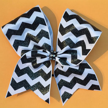 Cheer Bow chevron stripes with sparkly center