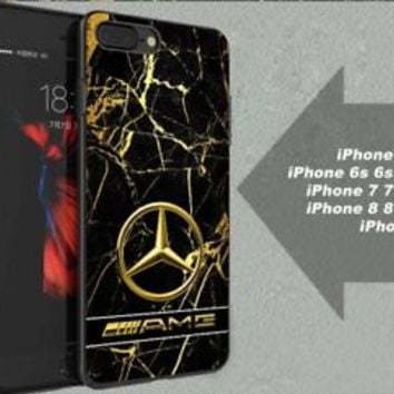 Best Mercedes Benz AMG Gold Marble Fit Hard Case for iPhone 6 6s 7+ 8+ Cover