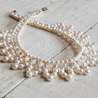 Vintage Style Pearl Collar Necklace