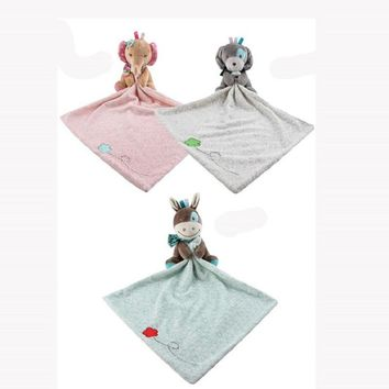 Cartoon Animal Elephant Dog Donkey Soft Plush Baby Comfort Blanket Toy Baby Bedtime Appeased Doll Cute Newborn Infant Jouet