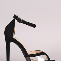 Suede Clear Inset Ankle Strap Stiletto Heel