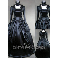 Square Neck Long Sleeves Black Satin Lolita Dress Gothic Victorian Dress - $96.99