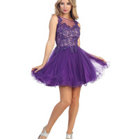 Purple Filigree & Tulle Short Prom Dress 2015 Homecoming Dresses