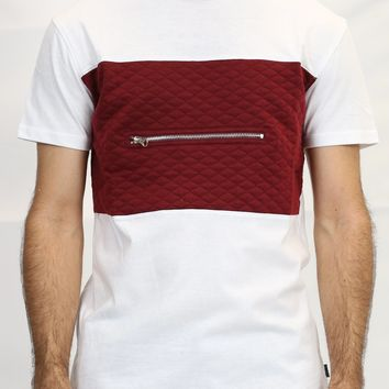 Elongated Quilted Tee in Burgundy and White