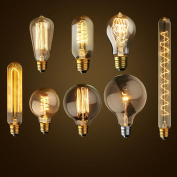 Antique Retro Vintage 40W 220V Edison Bulb E27 Incandescent Bulbs Squirrel-cage Filament Light Bulb Edison Lamps