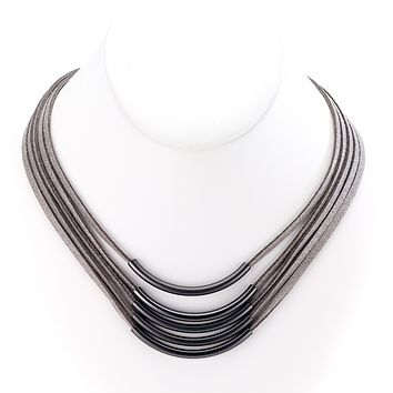 Multiple Strands Leather Necklace with Bar Centerpieces