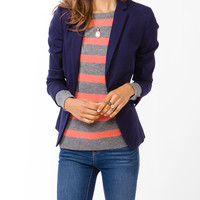 Notched Lapel Twill Blazer