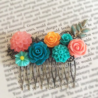 Wedding Hair Accesories Bridal Hair Comb Mallard Teal Aqua Turquoise Coral Orange Peach Floral Hair Slide Vintage Style Flower Headpiece