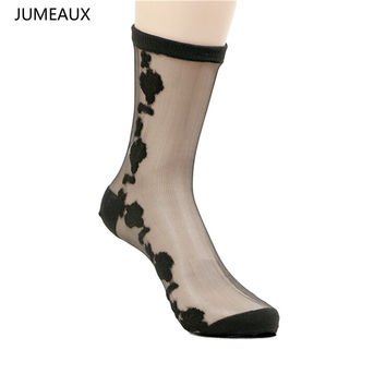JUMEAUX 2017 Colorful Ultrathin Transparent Beautiful Crystal Lace Flower Elastic Short Women Socks For Female Summer