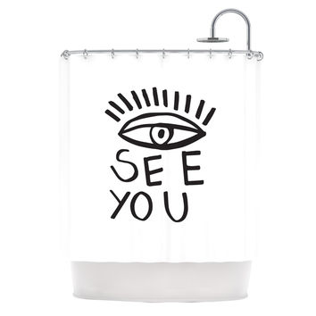 "Vasare Nar ""Eye See You"" White Shower Curtain"