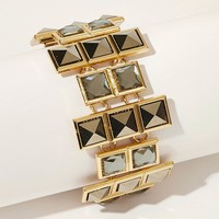 Gemstone Square Detail Statement Bracelet 1pc