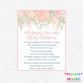 Floral Baby Shower Games Late Night Diapers Words for the Wee Hours Sign Chic Watercolor Boho Flowers Spring Girl Instant Download SPFL