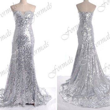 Silver Prom Dress, Sequin Prom Dresses, Mermaid Strapless Sequin Long Prom Dresses, Evening Gown, Sequin Evening Dresses, Formal Gown