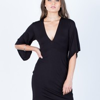 Bell Sleeve Back Tie Dress