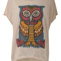 Diamante Owl Print Top - by Pilot