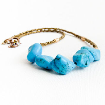 Turquoise Jewelry. Bohemian beaded necklace. December birthstone. Minimalist fashion