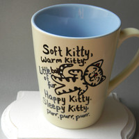 Funny The Big Bang Theory coffee mug tea cup quote mug soft kitty sheldon cooper pastel blue and yellow