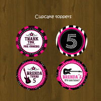Hot Pink Rock Star Cupcake Toppers - Hot Pink Rock Star Printable Cupcake Toppers and Wrappers for birthday or baby shower - DIGITAL FILE