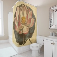 water lily vintage print shower curtain