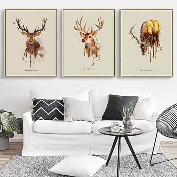 Fashion Deer Modern Animals Portrait Hipster A4 Wooden Framed Canvas Painting Wall Art Print Picture Poster wedding decoration