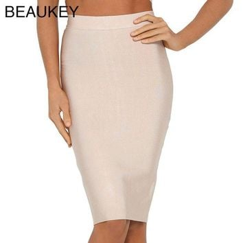DKF4S Nude Simple Solid 2016 New Rayon Knitted  Bandage High Waist Sexy Women's Knee Length Pencil Skirt