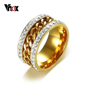 Vnox Gold Color Spinner Rings for Men Women Stylish Crystal Chain Wedding Bands Ring Stainless Steel Jewelry