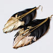 Leather Feather Earrings  Black Leather Dipped by LoveAtFirstBlush