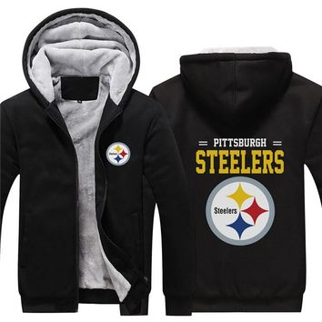 NFL American football Men's winter casual jacket Warm thicken hoodies Pittsburgh Steelers