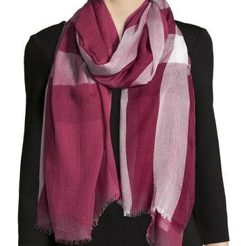 VONE05 NEW Burberry Woven Sheer Mega Check Scarf Wrap Red Pink