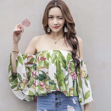 Chiffon Print Floral Blouse Shirt Women Tropical Sexy Spring Summer Slash Neck Casual