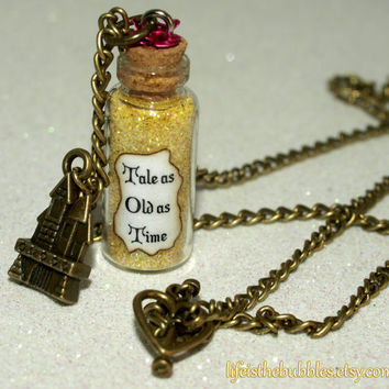 Beauty and the Beast Tale as Old as Time Magical Necklace Disney inspired by Life is the Bubbles