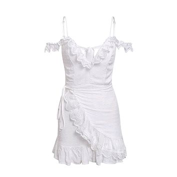 All's Fair In Love White Lace Ruffle Off The Shoulder Short Sleeve V Neck Cut Out Back Wrap A Line Flare Casual Mini Dress