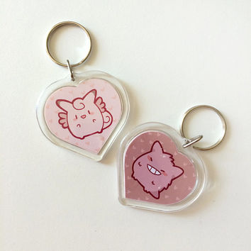 Pokemon Clefable Gengar Doublesided Keychain