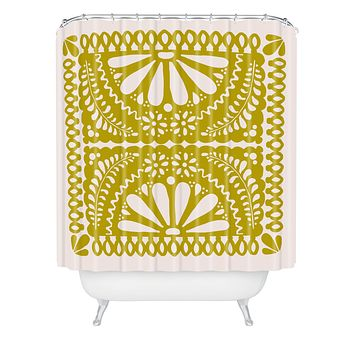Natalie Baca Fiesta De Flores In Olive Shower Curtain