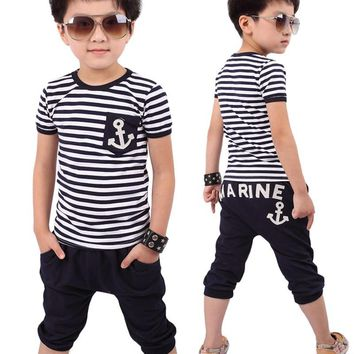 New Summer Children Clothing Boys Navy Striped T-shirt And Pants Suits