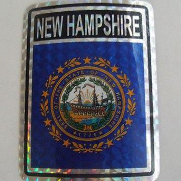 "New Hampshire Flag Reflective Sticker 3""x4"" Inches Adhesive Car Bumper Decal"