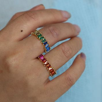Thin Baguette T Ring Brand Engagement Handmade rainbow Stone Rings For Women Fashion Finger gold filled colorful elegance ring