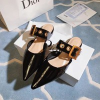 Dior Black Spray Leather Flat Shoes