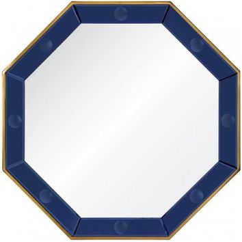 Octagonal Blue Mirror & Polished Brass Mirror by Bunny Williams