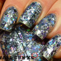 Nail polish  Rhodium silver holographic charcoal by EmilydeMolly
