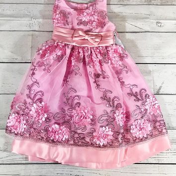 Beautiful Pink Flower Embroidered Dress - 2T -3T - 4T - Girls Fancy Dress - Embroidered Dress - Pink Dress - Flower Dress