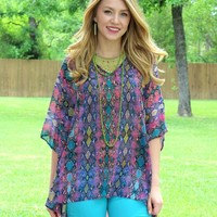 Sure Thing Sheer Snakeskin Oversized Poncho Top in Purple