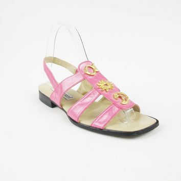 90s Pink Leather Slingback Sandals