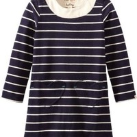 Hatley Little Girls' Kids A-Line Dress Navy Stripes, Blue, 5