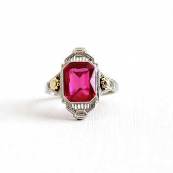 Vintage 14k White & Yellow Gold Art Deco Created Red Pink Ruby Ring - Size 6 Antique Filigree 1920s Flower July Birthstone Fine Jewelry