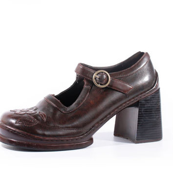 90s Vintage Brown Mary Janes Chunky Platform Vegan Leather Goth Grunge Retro Babydoll Shoes Women Size US 11 UK 9 EUR 41/42
