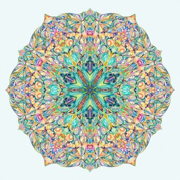 "12x12'' Peaceful Mandala Art ""Snowflake Reflection""  - Archival Print Sacred Geometry Art"