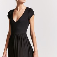 V-Neck Fit & Flare Dress