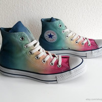 Soft rainbow ombre Converse, dip dye upcycled vintage sneakers, All Stars high tops, Chucks, eu 39 (uk 6, us wo 8, us men's 6)